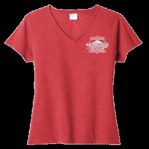 LadiesV-Neck T-shirt heather red